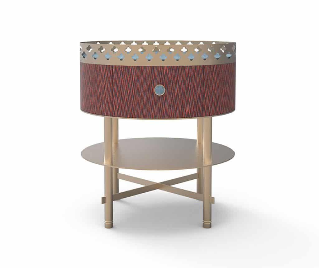 Tavolino comodino effetto tessuto e metallo effetto ottone