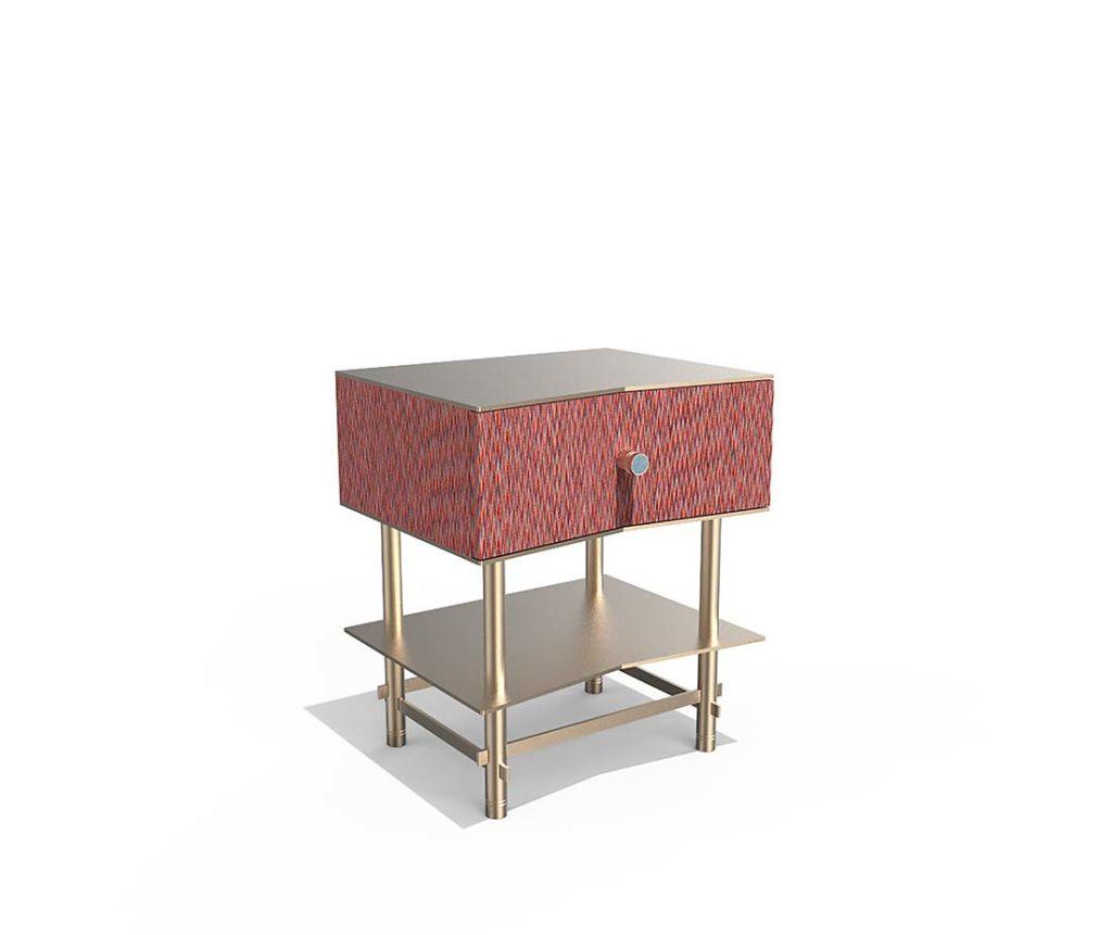 Tavolino comodino Antes Design color rosso e metallo color ottone