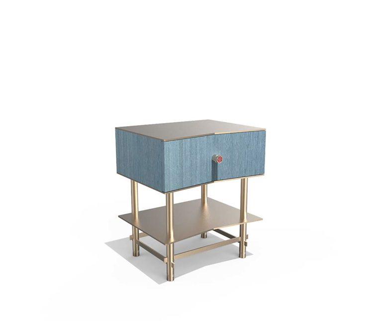 Tavolino comodino azzurrino legno e metallo