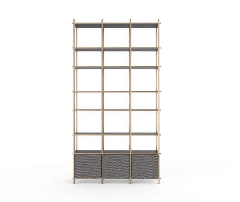 Libreria Samir modulare componibile con effetto tessuto