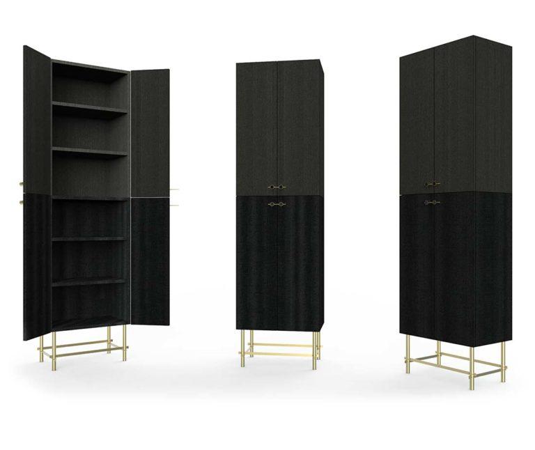 Mobili contenitori aperti e chiusi Sarita color nero da Antes Design