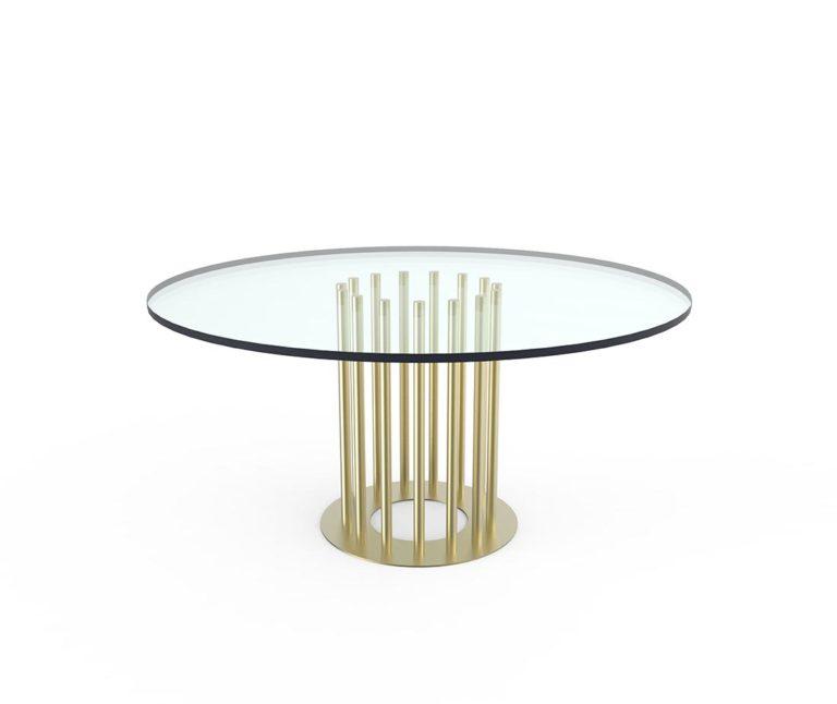 Tavolo ela tondo con piano in cristallo e anche in ottone