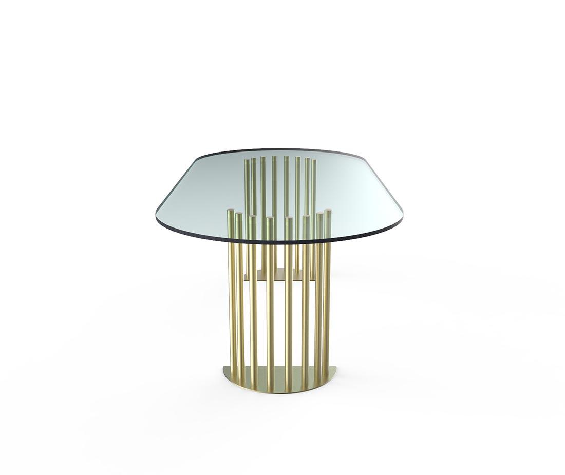Tavolo ela ovale con piano in cristallo o vetro e anche in ottone