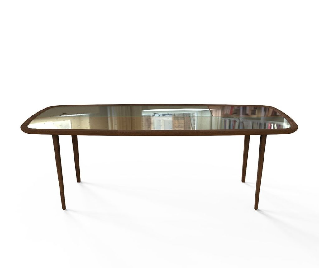Tavolo in legno con vetro Kanan