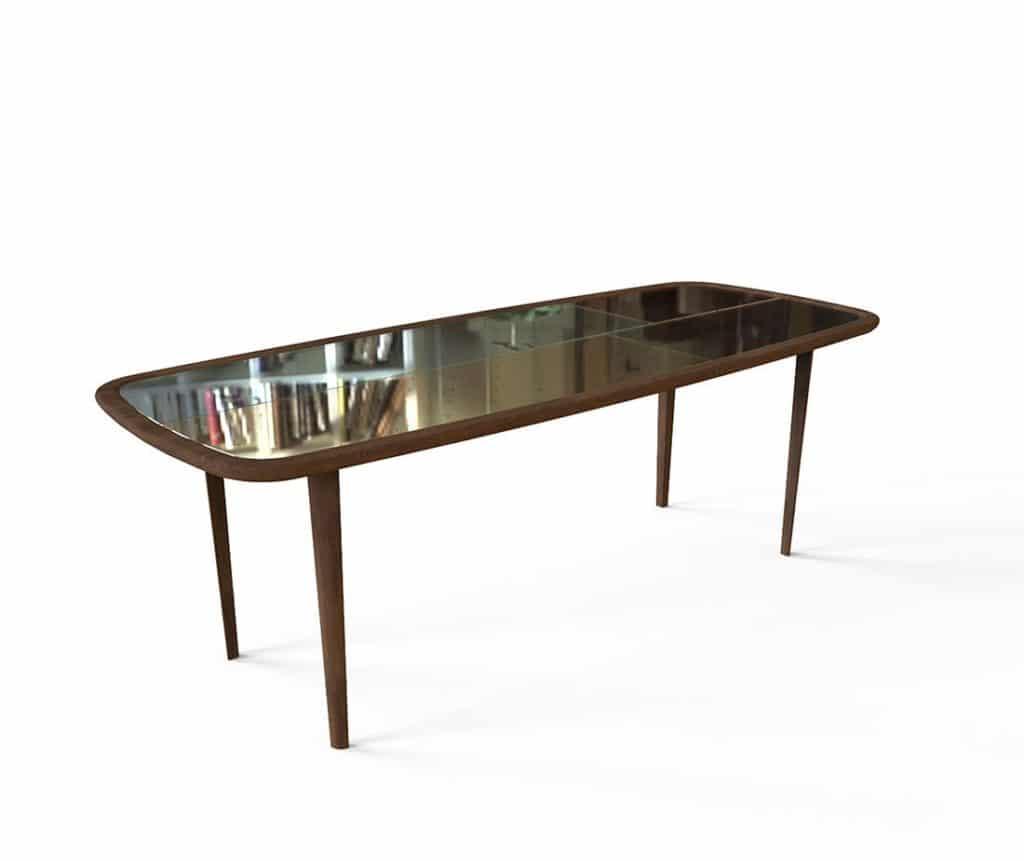 Tavolo in legno kanan con vetro