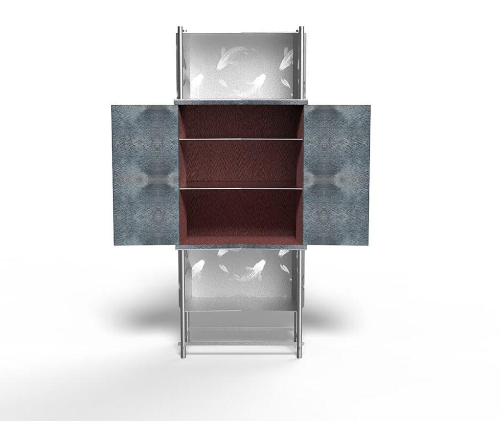 Samsara Koi Antes Design Mobile contenitore Silver Aperto